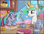 book cookie filly inkwell magic muffinshire princess_celestia quill spoon sugar_cube tea twilight_sparkle