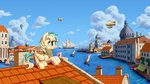 1jaz balloon cloud dirigible highres mug original_character roof scenery sea ship town water