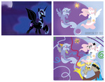 discord egophiliac graffiti hat highres monocle moon nightmare_moon party_hat pencil princess_celestia princess_luna sun tophat