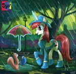 absurdres bird boots hat highres jowybean magic original_character princess_lauren rain raincoat squirrel umbrella