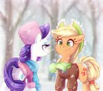 applejack clothes hat jumblehorse rarity scarf snow snowing winter