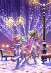 bat_pony bench glasses highres holivi magic original_character snow