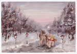 highres original_character satynapaper scarf snow trees winter