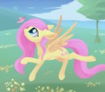 butterfly dusthiel fluttershy highres trees