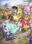 applejack cloak clothes costume dice feather fluttershy game highres lasso magic main_six moonlight-ki pinkie_pie rainbow_dash rarity rope rpg starlight_glimmer traditional_art trees twilight_sparkle