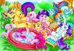 applejack fluttershy grill highres hisuivirus main_six picnic pinkie_pie pool rainbow_dash rarity spike swimming twilight_sparkle