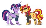 clothes dennyvixen glasses princess_twilight shipping sunlight sunset_shimmer twilight_sparkle