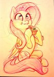 carrot eating fluttershy imalou traditional_art
