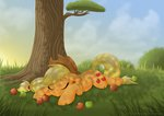 absurdres applejack apples highres littlehybridshila sleeping tree