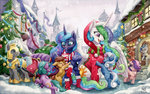 canterlot christmas_tree guard_pony original_character princess_celestia princess_luna scarf snow the-wizard-of-art traditional_art tree winter