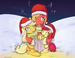 alasou apple_bloom applejack big_macintosh christmas highres winter