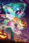 ghost halloween highres holivi original_character pumpkin tombstone tree