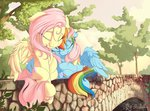absurdres bridge flutterdash fluttershy highres nobody47 rainbow_dash shipping trees
