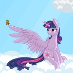 Post 66040, tags: butterfly, cloud, geomancing, highres, princess, princess_twilight, twilight_sparkle, rating:Safe, score:9, user:Geomancing