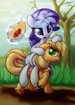 absurdres applejack highres impcjcaesar mud pony_ride_the_pony rarity riding
