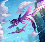 flying highres luciferamon princess_twilight spike twilight_sparkle