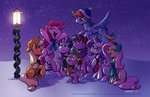 applejack earmuffs fluttershy hat main_six nighttime pinkie_pie rainbow_dash rarity raynesgem scarf singing snow spike starlight_glimmer twilight_sparkle