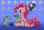 balloon crossover cybertoaster driffloon gummy highres pinkie_pie pokemon skitty totodile