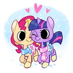 cuteosphere lowres princess_twilight shipping snow sunlight sunset_shimmer twilight_sparkle