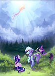 cloud highres kite lyra_heartstrings magic princess_twilight quill ramiras scroll sweetie_drops trees twilight_sparkle