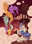 adagio_dazzle aria_blaze badday28 cape hat highres magic siren sonata_dusk starswirl_the_bearded