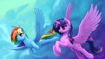 1jaz flying highres princess_twilight rainbow_dash twilight_sparkle