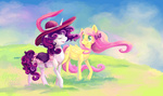 bow fluttershy graypaint hat highres rarity saddle