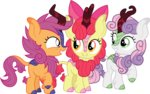 apple_bloom cloudyglow cutie_mark_crusaders highres kirin scootaloo species_swap sweetie_belle vector