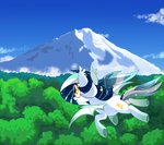 absurdres bat_pony flying highres mountain original_character owlity trees