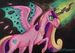 disguise princess_cadance queen_chrysalis sparkleforever traditional_art