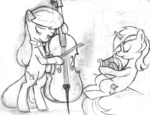 artist_unknown bipedal cello i_shall_not_use_my_hooves_as_hands instrument lineart lyra_heartstrings lyre octavia_melody sketch