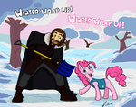 a_song_of_ice_and_fire crossover humans lord_eddard_stark netcyber pinkie_pie snow snow_shovel winter winter_wrap_up