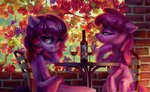 background_ponies berry_punch bottle chair glass highres holivi leaves original_character sitting table wall wine wine_glass