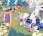 background_ponies chariot facelessjr glasses guard_pony hat highres list magic princess_celestia princess_luna princess_twilight quill shirt spike statue suitcase sunglasses twilight_sparkle