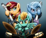 drums guitar jacket lightning_dust sunset_shimmer the_great_and_powerful_trixie xioade