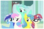 absurdres canterlot highres iflysna94 lemon_hearts lyra_heartstrings minuette moondancer twinkleshine waving
