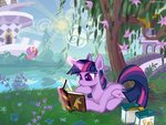 absurdres bird book canterlot flowers highres rrdartist tree twilight_sparkle