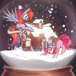 absurdres hat highres mirroredsea pinkie_pie rainbow_dash snow snowball snowball_fight