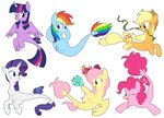 absurdres applejack fish fluttershy highres main_six pinkie_pie rainbow_dash rarity seaponies twilight_sparkle yaaaco