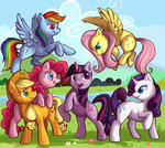 applejack fluttershy kaceymeg main_six pinkie_pie rainbow_dash rarity twilight_sparkle