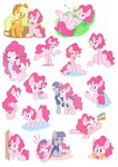 akainu7 applejack butterfly cannon grass highres maud_pie party_cannon pinkie_pie sleeping