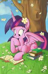 book flowers highres princess_twilight tree twilight_sparkle violetvampirevixen