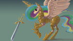 armor highres magic princess_celestia sword weapon xxkrutoy