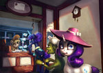 derpy_hooves granny_smith hat highres letter magic nemo2d post_office princess_luna rarity watch