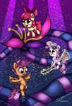 apple_bloom broom cutie_mark_crusaders esuka flowers highres magic scootaloo sweetie_belle unicycle