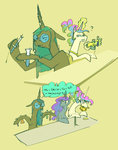 alumx chemistry glasses highres magic princess_celestia princess_luna queen_chrysalis test_tube