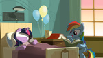 balloon bandage bed book equestria-prevails injured plushie rainbow_dash smarty_pants toy twilight_sparkle