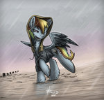 clothes coat highres hoodie rain rainbow_dash slawomiro