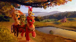 apple_bloom applejack big_macintosh cart granny_smith reddwin scenery sweet_apple_acres