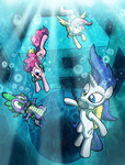 fluttershy pinkie_pie rarity spike swimming willdrawforfood1